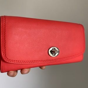 Coach Leather Neon Red Wallet